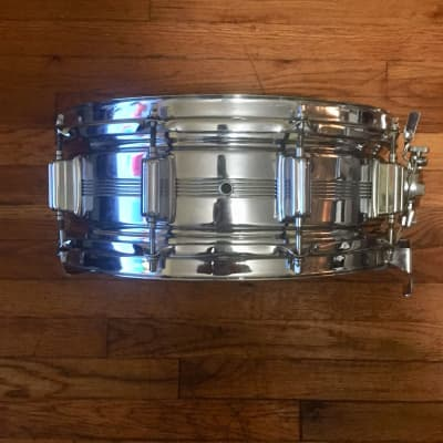 """Rogers Dynasonic """"Big R"""" Dyna-Sonic 5x14"""" Chrome Over Brass Snare Drum 1975-1984"""