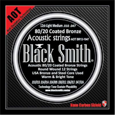 BLACKSMITH Acoustic 12 String Set,  Nano-Carbon Coated - Light Medium 010 - 047