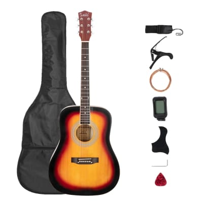 Glarry GT508 41in Solid Top Folk Acoustic Guitar Dreadnought Natural Black Sunset for sale
