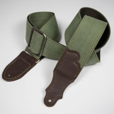 """Franklin 2"""" Distressed Cotton Canvas/Glove Leather End Tab - Olive w/Chocolate"""