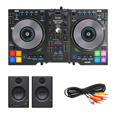 "Hercules DJControl Jogvision DJ Software Controller + PreSonus Eris E3.5 3.5"" 2-Way 25W Nearfield Monitors (Pair) and Cables."