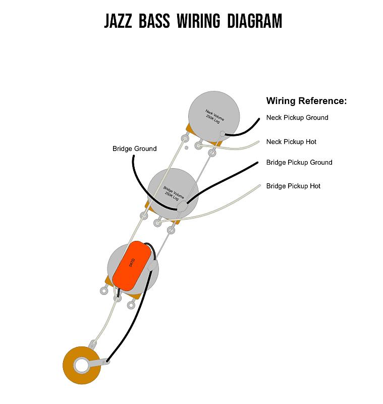 jazz bass wiring harness w/plate  knobs j bassctsorange dropswitchcraft