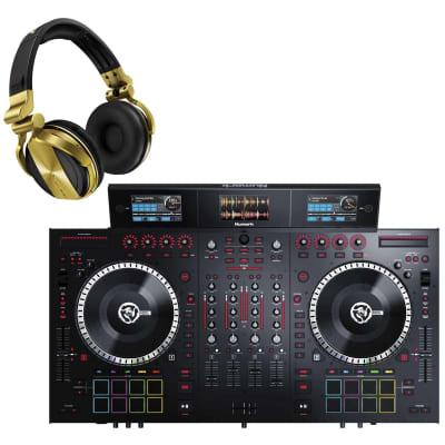 Numark NS7III 4-Channel Motorized DJ Controller & Mixer with Pioneer HDJ-1500-N DJ Headphones in Gold Package