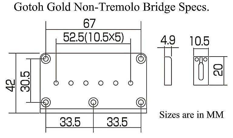 Gotoh Hardtail Guitar Bridge New Gold