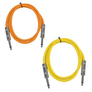 """Seismic Audio SASTSX-3-ORANGEYELLOW 1/4"""" TS Male to 1/4"""" TS Male Patch Cables - 3' (2-Pack)"""