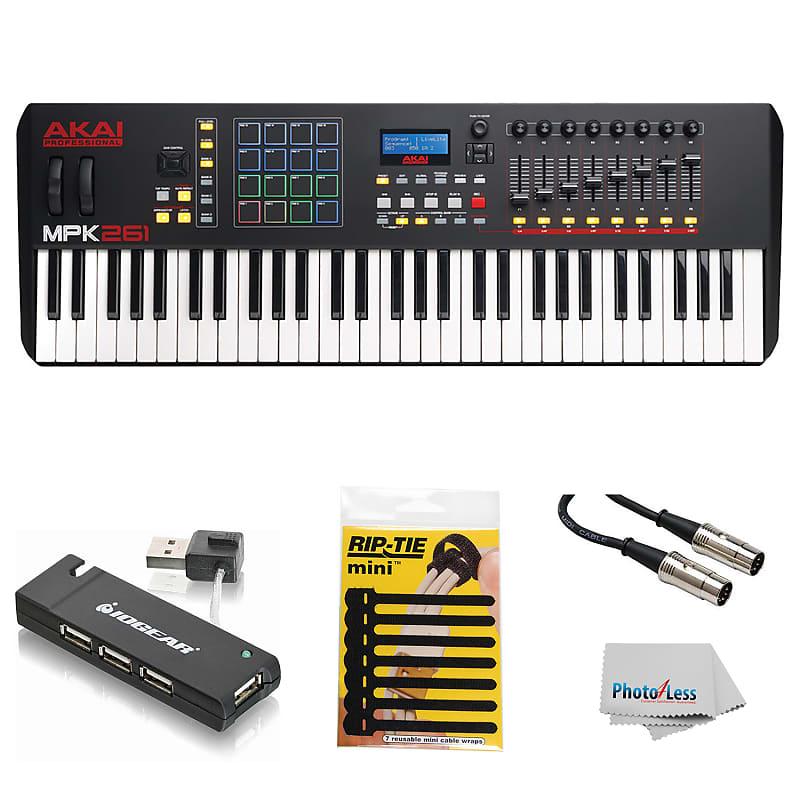 Akai Professional MPK261 61- Keyboard & Drum Pad Controller + USB Hub +  MIDI Cable & Cable Ties