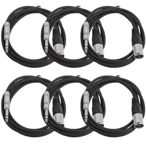 "Seismic Audio SATRXL-M6BLACK6 XLR Male to 1/4"" TRS Male Patch Cables - 6' (6-Pack)"