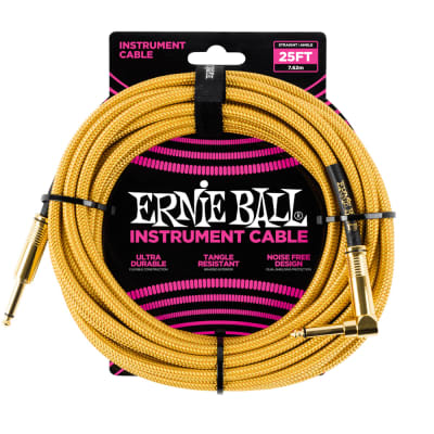 Ernie Ball 25ft Straight/Angle Braided Gold/Gold Cable for sale