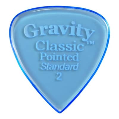 Gravity Picks Classic Pointed Standard Polished Pick, 2mm, Blue