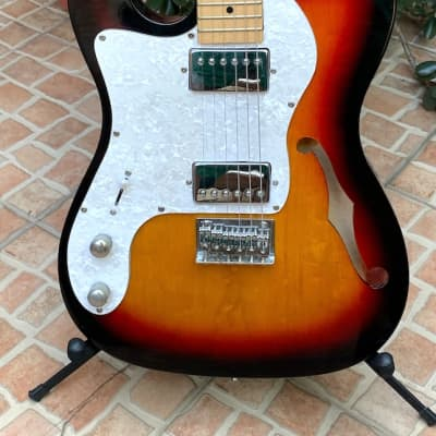 Very Cool Lefty Left handed Home made Telecaster Style Thinline Electric Guitar Fender bag for sale