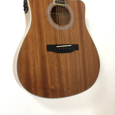 Haze FA-125SSCEQN All-Sapele Acoustic Guitar, Satin Natural, Built-in EQ & Tuner for sale
