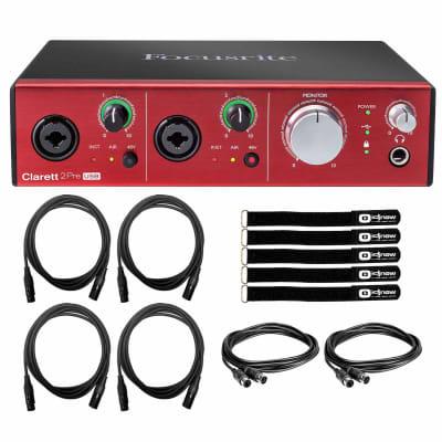 Focusrite Clarett 2Pre USB 10-In/4-Out Studio Recording Audio Interface Package