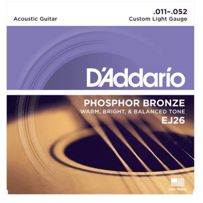 D'Addario EJ26 Phosphor Bronze Custom Light Acoustic Strings 11-52