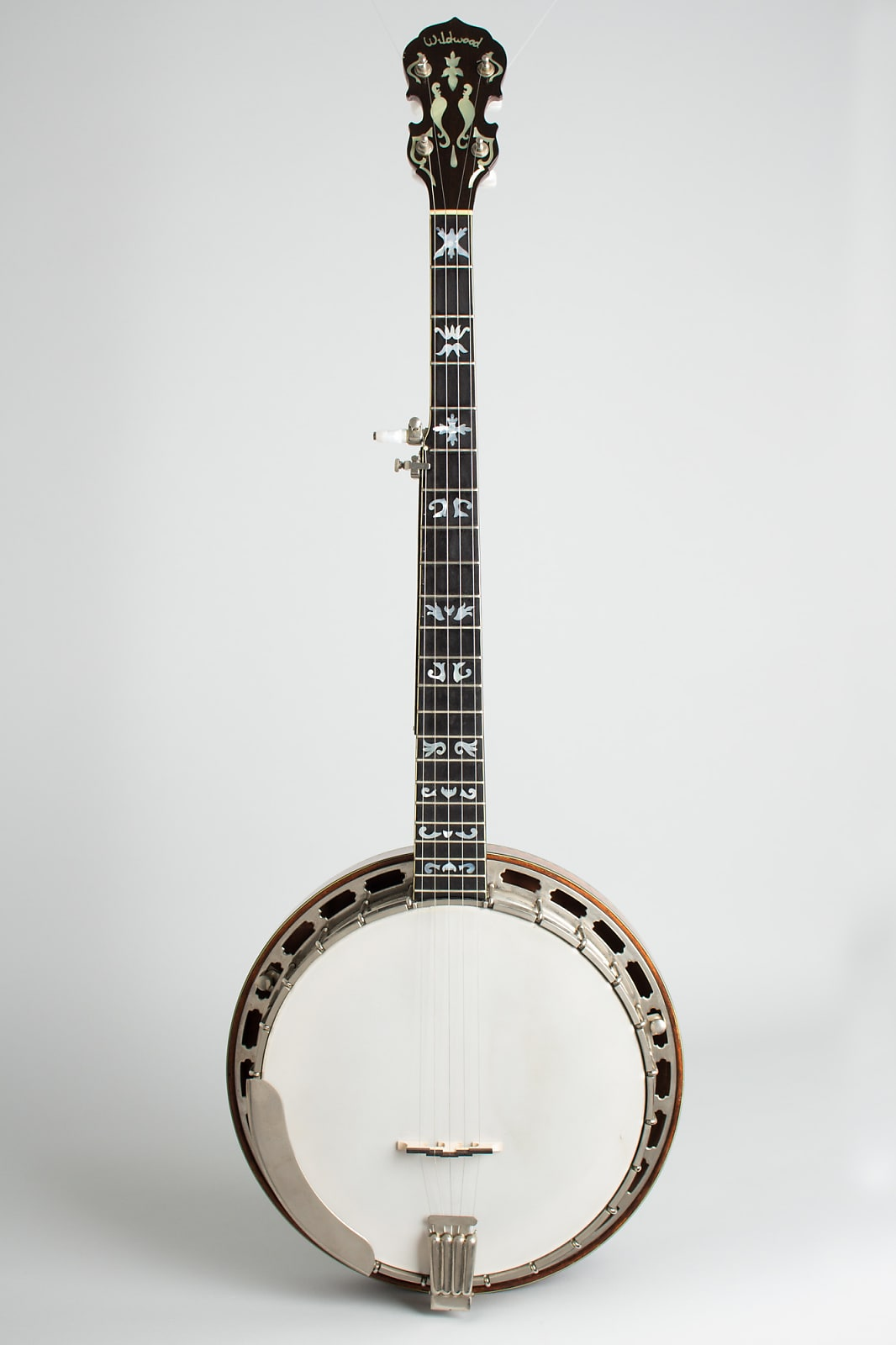 Wildwood  Custom Bluegrass 5 String Banjo (1971), black hard shell case.