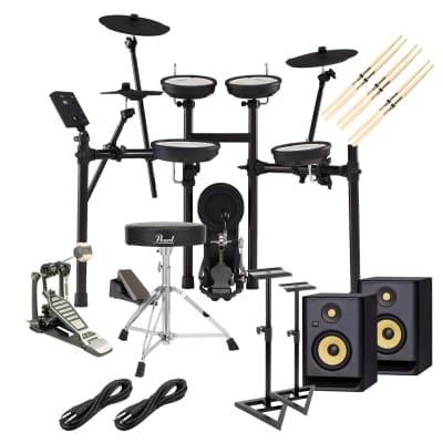 Roland TD-07KV V-Drums Electronic Drum, (2) KRK RPG5G4 Monitors, Monitor Stands, GP D719 Pedal, Pearl D-50 Chair, (3) Drum Sticks, (2) 1/4 Cables Bundle