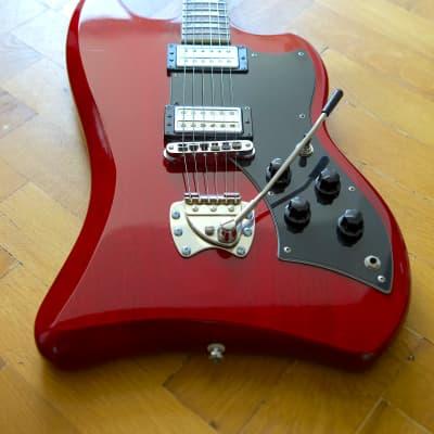 Guild/ DeArmond DeArmond Jet Star  1998 Crimson Red Transparent + upgrades + Thomann tweed case for sale