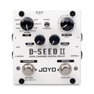 Joyo Audio D-Seed II Stereo Delay Guitar Effects Pedal w/ 8 Modes, Tap Tempo