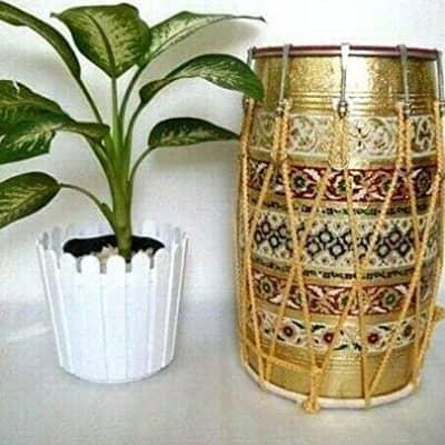 Naad  Naad Folk Musical Instrument MeenaKari Work Mango Wood Punjabi Bhangra Dhol 2020 Multicolor