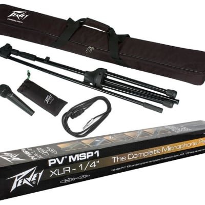 """Peavey PV MSP1 1/4"""" Microphone w/ Stand and Accessories Package Bundle"""