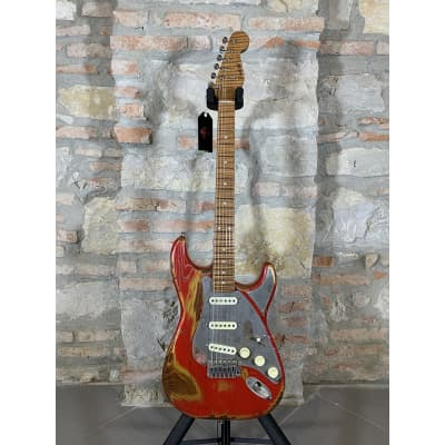 PAOLETTI Stratospheric Loft Pickled Finish SSS + Roasted Curly Maple Premium Neck - Heavy Candy Apple Red for sale