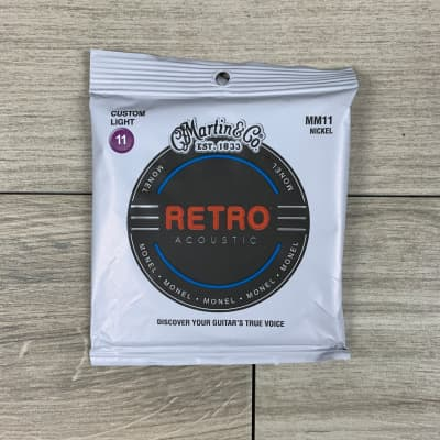 Martin MM11 Retro Acoustic Guitar Strings, Custom Light Gauge .011-.052