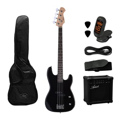 Artist PB2 Black Electric Bass Guitar + Amp and Accessories for sale