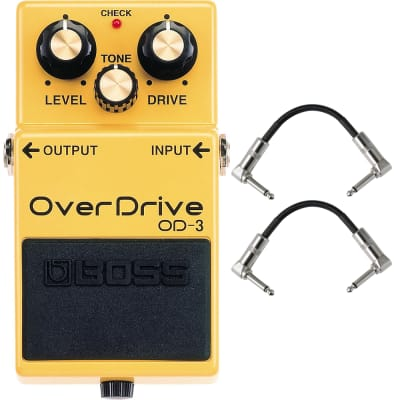 BOSS OD-3 Overdrive Guitar Bass Effects Pedal Stompbox Footswitch + Patch Cables