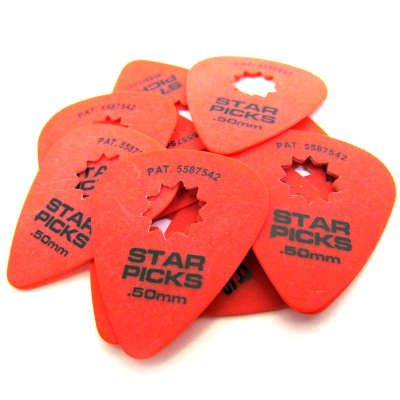 Everly Star Picks - Super Grip - .50mm - Red - 12 Pack