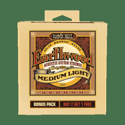 Ernie Ball P03503 Earthwood Medium-Light 80/20 Bronze Acoustic Guitar Strings Bonus Pack