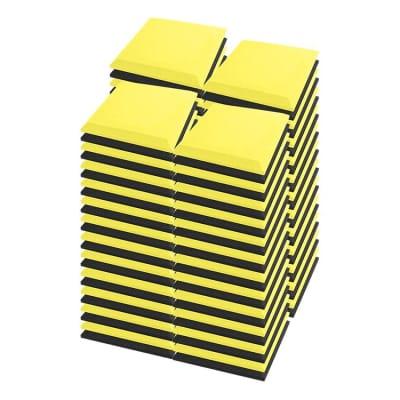 Arrowzoom 96 pcs Black & Yellow Flat Bevel Tile Acoustic Foam 19.6 x 19.6 x 1.9 inches KK1039