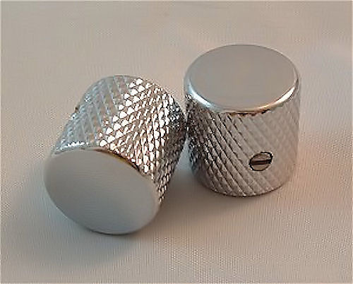 Guitar Parts METAL DOME KNOBS Knurled Barrel 1//4in Hole Set of 2 CHROME