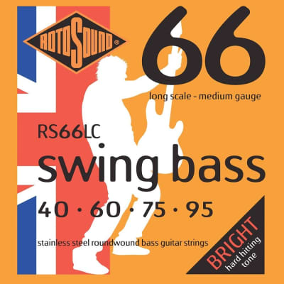 Rotosound RS66LC Long Stainless Steel Swing Roundwound Bass Guitar Strings 40-95