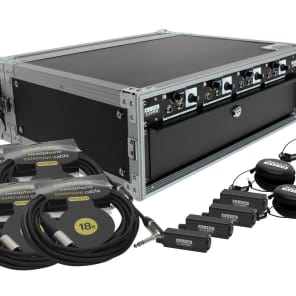 Elite Core Audio HA4X4-DRP-RVC Deluxe Rack Pack Four-User Personal Monitoring System with Remote Volume Controls