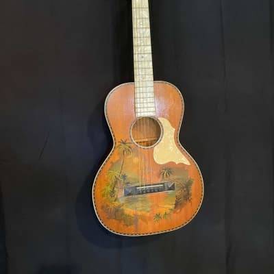 Lot of 3 Antique Acoustic Guitars with Hawaiian Imagery for sale