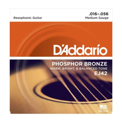 D'Addario EJ42 Phosphor Bronze Resophonic Guitar Strings, 16-56