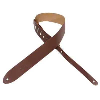 """Levy's Leathers - M12-BRN -  2"""" Wide Brown Genuine Leather Guitar Strap."""