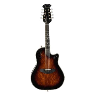 Ovation Pro Series Mandolin - Okuome Feather Tobacco Burst – Layered Exotic Wood for sale