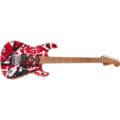 PRE-ORDER EVH Striped Series Frankie Guitar, Red/White/Black Relic