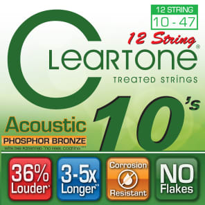 Cleartone 7410-12 Phosphor Bronze 12-String Acoustic Guitar Strings - Light (10-47)