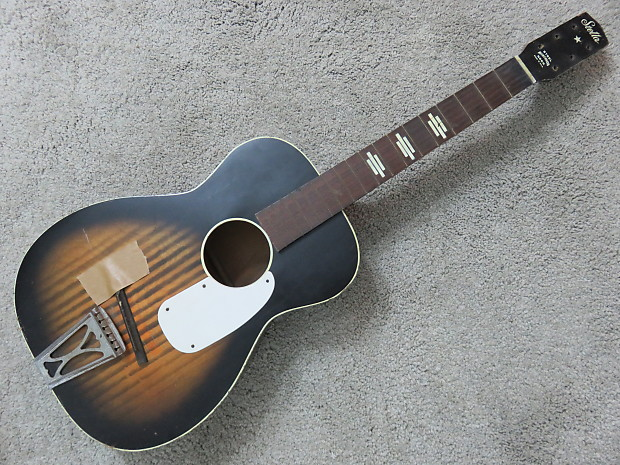vintage 1950s harmony stella acoustic guitar needs tuners reverb. Black Bedroom Furniture Sets. Home Design Ideas
