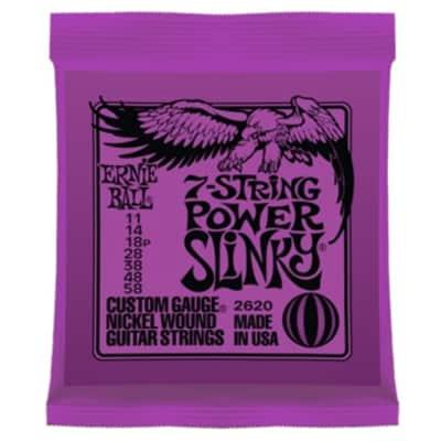 Ernie Ball 2620 Power Slinky Nickel Wound 7-String Electric Guitar Strings (11-58)