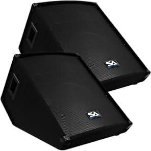 """Seismic Audio SA-15MT Passive 1x15"""" Titanium Horn 300w Floor Monitor Wedge Speakers (Pair)"""