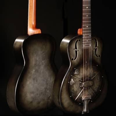 National NRP B Series 14 Fret Single Cone Resonator - Black Rust w/Hardshell Case for sale