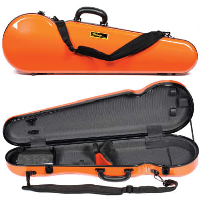 Galaxy Audio Galaxy Comet 300SL Shaped Orange Violin Case with Gray interior for sale