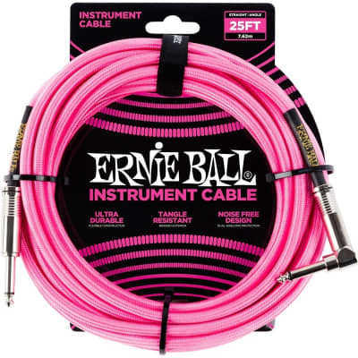 Ernie Ball 6065 Braided Instrument Cable, 25ft/7.6m, Neon Pink for sale
