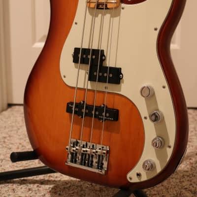 Fender American Elite Precision Bass Guitar & Fender TSA Flight Case.  Tobacco Burst over Ash. for sale