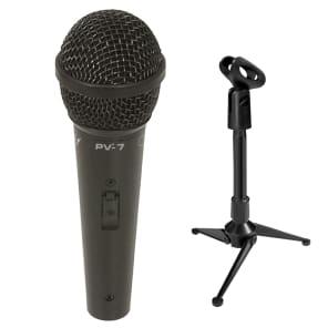 Peavey PV-7 Dynamic Vocal Microphone + XLR Cable + Mini Desktop Tripod Stand