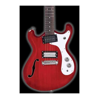 Danelectro D66-TRRED 66 Classic Semi-Hollow Body Reversed Double Cutaway 6-String Electric Guitar