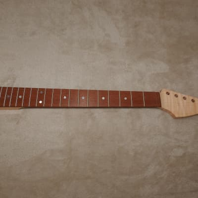 Unfinished Strat Style Neck Lacewood Curly on Flame Maple Strat 24.75 Conversion Neck 21 M/J Frets