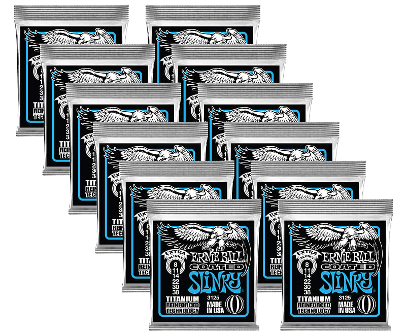 12 pack ernie ball 3125 coated titanium extra slinky electric reverb. Black Bedroom Furniture Sets. Home Design Ideas